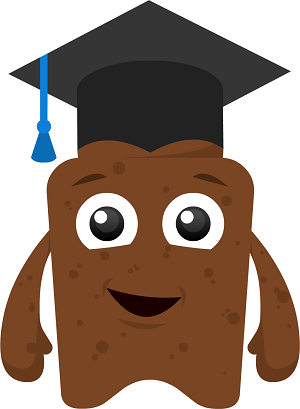 Poo character with mortarboard