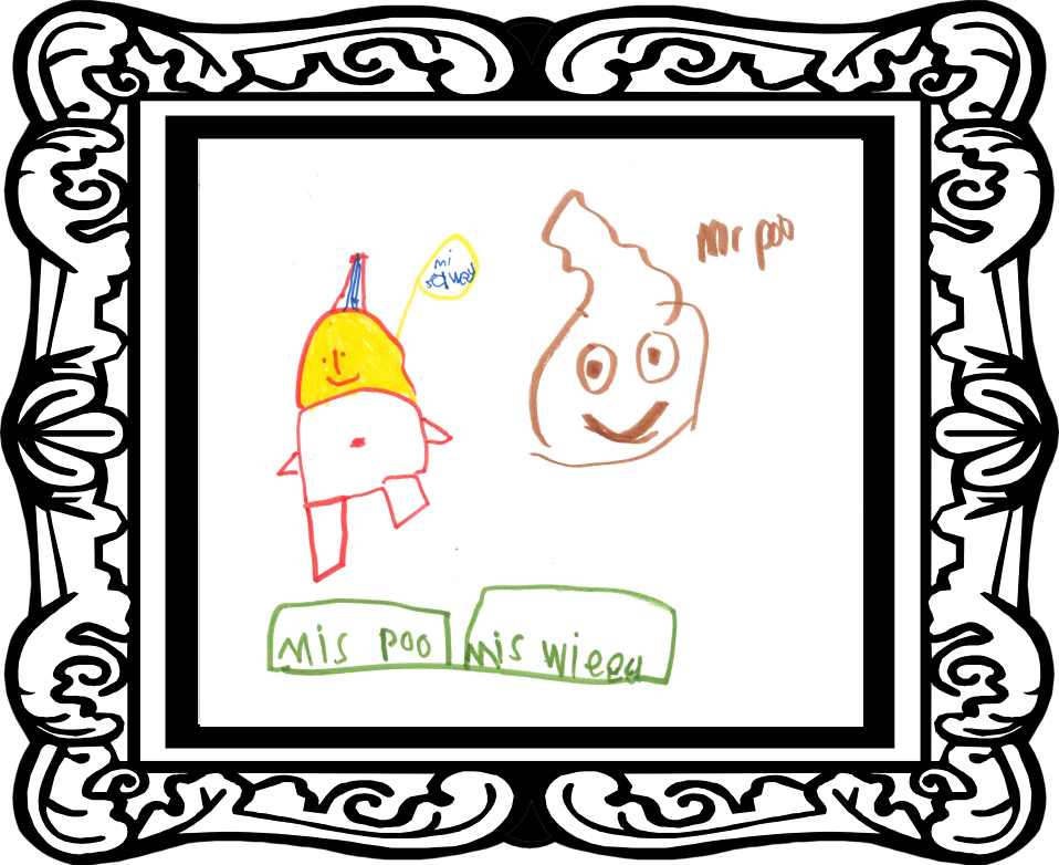 Childs drawing of poo and wee