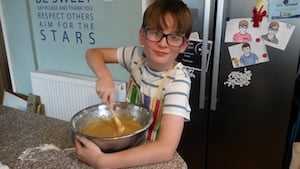 Boy making cake