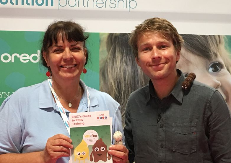 Fiona Boorman and Mr Bloom at Childcare Expo