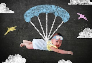 Baby with parachute