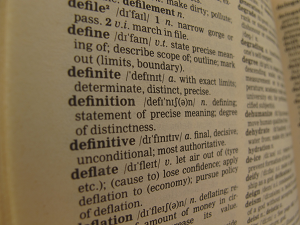 Page of dictionary