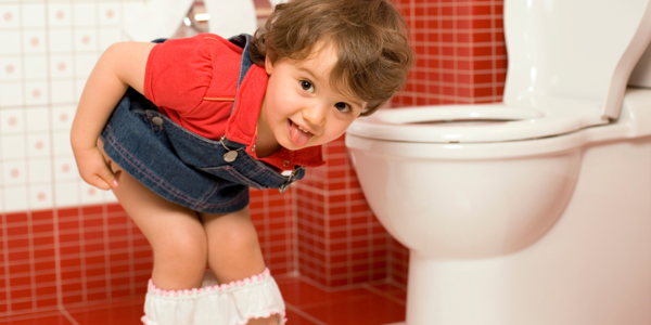 Toddler by toilet