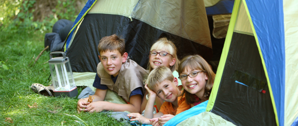 Children in a tent