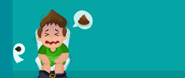 Cartoon image if boy crying on the toilet